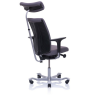 5500 part upholstered back with arms, headrest, silver base