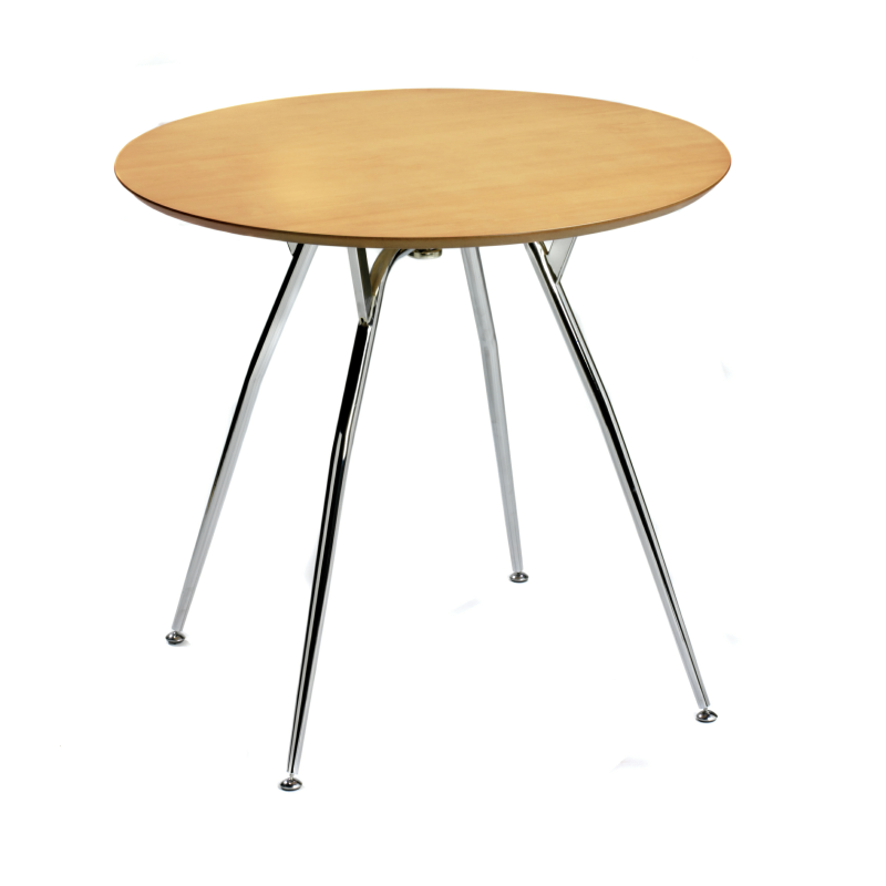 Cr8 natural wood effect round table with chrome legs for Natural wood round table
